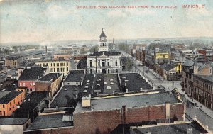 LPS66 MARION Ohio Aerial View looking East from Huber Block Postcard