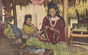 Seminole Indians Making Clothing Silver Springs Florida Curteich