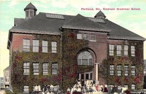 Portland ME Emerson Grammar School with Pupils Postcard