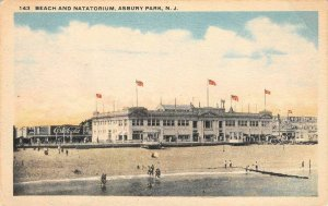 Beach & Natatorium ASBURY PARK, NJ Swimming Pool c1920s Vintage Postcard