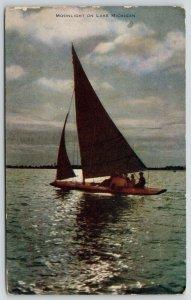 Lake Michigan Illinois~People on Sailboat by Moonlight~1910