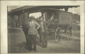 Southbridge MA RR Train Station Dakin Horse Delivery Wagon Real Photo Postcard