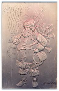 Early 1900s A Merry Christmas, Santa Claus with Gifts/Presents Embossed Postcard