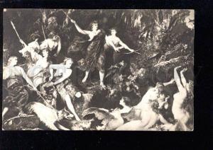 026927 Nude LEDA & Swan in fight w/ DIANA & GREYHOUND vintage