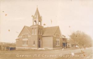 Gladbrook Iowa~German Methodist Episcopal ME Church~Houses Down Street~1907 RPPC