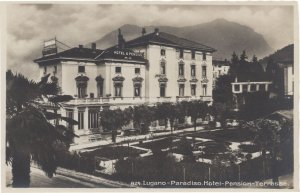 Lugano Pension Paradiso Hotel Old Swiss Switzerland Postcard