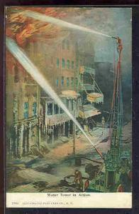 pc6599 postcard Water Tower fighting fire in action 1908