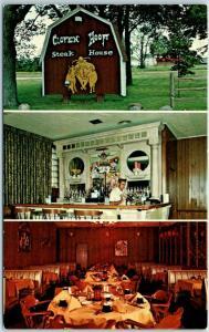 1960s Marengo, Illinois Postcard CLOVEN HOOF STEAK HOUSE Restaurant Roadside