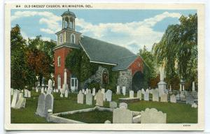 Old Swedes Church Wilmington Delaware 1940s postcard