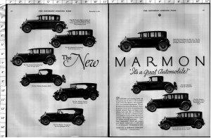 1924 Marmon Automobile Car diff Models Large Vintage Print Ad 4016