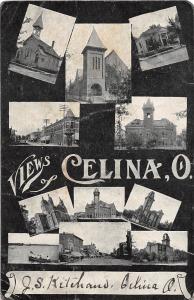 E55/ Celina Ohio Postcard 1909 Views11 Court House School Church