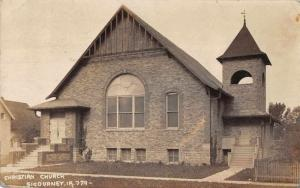Sigourney Iowa Christian Church Real Photo Vintage Postcard JA4741933