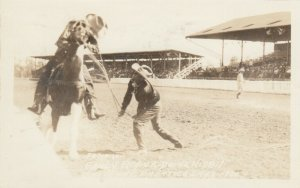 RP: CHEYENNE , Wyoming, 1930 ; Rodeo , Fancy Roper Duane Hisbit