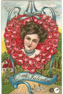 Beautiful Woman in Wreath of Red Roses To My Valentine Vintage Postcard Gold