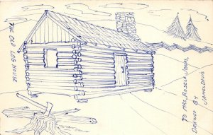F93/ Hand-Made Postcard Sketch Rosela Jonas Log Cabin Turtle Back 3