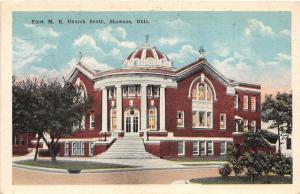 B54/ Shawnee Oklahoma Ok Postcard c1915 First M.E. Church Building