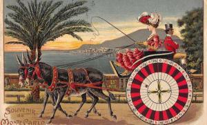 Monte Carlo Monaco Roulette Donkey Cart Black Servant Antique Postcard J79279