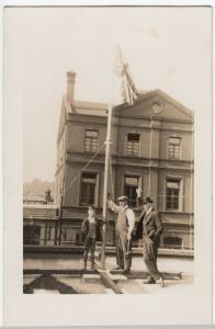 Social History; Unlocated Group Raising Union Flag, c 1920's RP PPC Unused