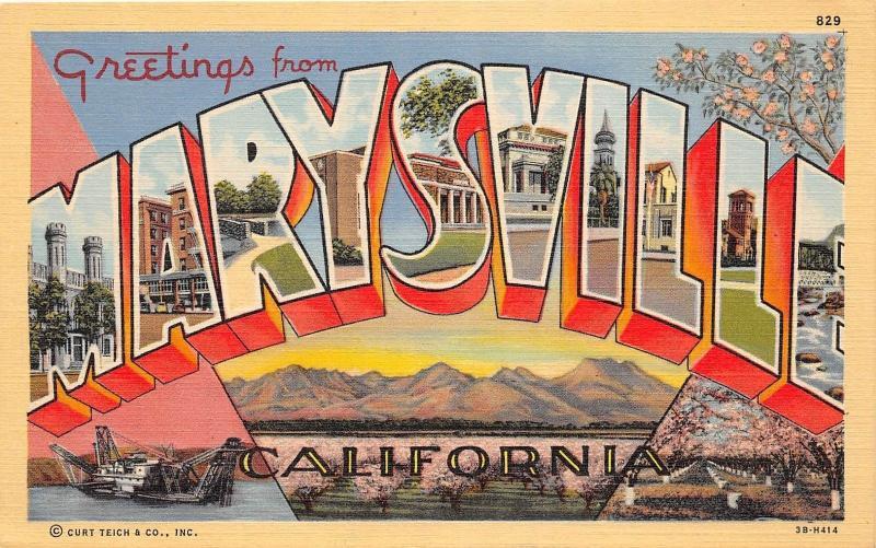 A63 marysville california ca postcard large letter greetings from a63 marysville california ca postcard large letter greetings from marysville m4hsunfo