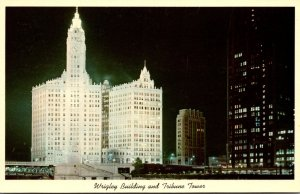 Illinois Chicago Wrigley Building and Tribune Tower At Night