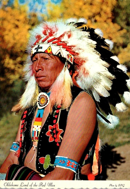 Oklahoma Home Of The Red Man Showing American Indian Chief