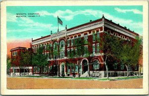 Wichita, Kansas Postcard WICHITA HOSPITAL Building / Street View Kropp - 1937