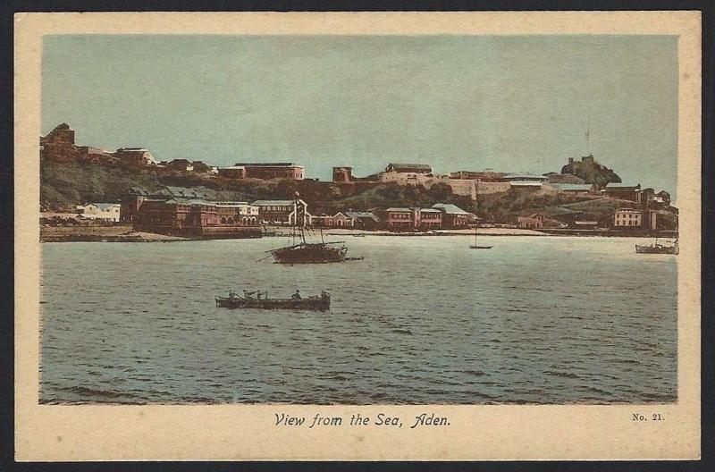 Aden View From the Sea postcard by M.S.Lehem & Co.