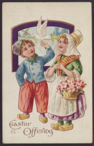 Easter Offering,Dutch Boy and Girl,Embossed
