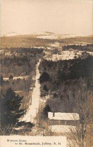 LPS64 Jaffrey New Hampshire Winter Road to Mt. Monadnock Postcard RPPC