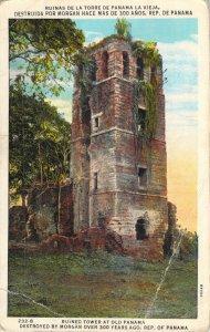 Ruined Tower Old Panama La Vieja Maduro 232-B 1935 White Border Postcard