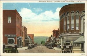 Moundsville WV Jefferson Ave c1920 Postcard