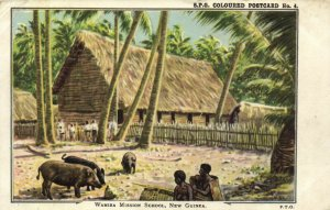 PC CPA PAPUA NEW GUINEA, WAMIRA MISSION SCHOOL, Vintage Postcard (b19742)