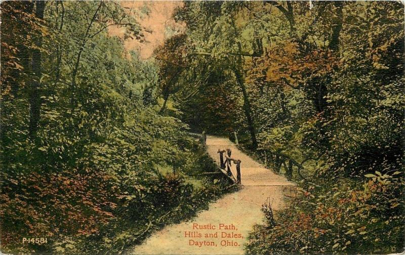 Dayton Ohio~Foot Bridge on Rustic Path~Hills and Dales~1910 Postcard