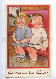 233400 Kids in TRAIN All for her by PARLETT vintage TUCK #3115