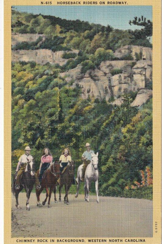 NORTH CAROLINA, 1930-1940s; Horseback Riders On Roadway, Chimney Rock