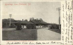 Elmhurst IL RR Train Station Depot c1905 Postcard