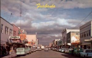 Fairbanks AK Street Scene Old Cars & Stores c1950s Postcard