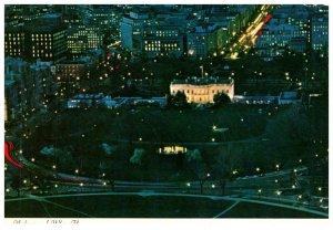 1970's White House Ariel View At Night Washington D.C. PC1989 Scalloped Edges
