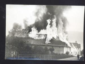 RPPC ERZABTEI BEURON GERMANY OKONOMIEGEBAUDE FIRE DISASTER REAL PHOTO POSTCARD