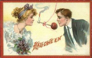 Halloween Pretty Woman Handsome Man Play Game TUCK - Brundage? Postcard