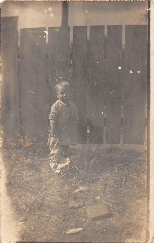 B41/ Portsmouth Ohio Postcard Real Photo RPPC People c1910 Child Fence 2