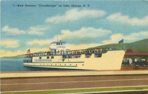 Lake George New York Steamer Ticonderoga Teich linen 1952 Postcard 21-10004