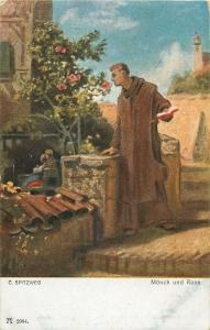 Monk and rose by C. Spitzweg early art postcard