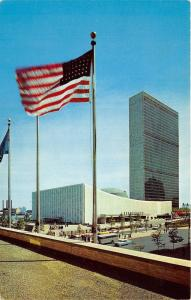 New York City~United Nations Building~Old Glory Flying~50s Cars & Bus~Postcard