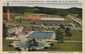 Tennessee Kingsport Legion Pool With Civic Auditorium & J Fred Johnson Pa...