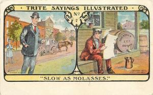 Trite Sayings Illustrated~Slow As Molassas~Cop Watches Fellow~Man Reads Paper