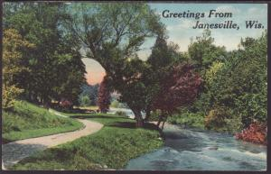 Greetings From Janesville,WI Postcard