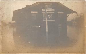 F35/ Clarendon Iowa RPPC Postcard c1910 Railroad Depot Flood Disaster