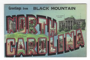 1940's Greetings from Black Mountain, North Carolina Large Letter Linen Postcard
