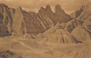 Wall South Dakota~View of Badlands~Dirt Road Trails~1930s Sepia Albertype PC